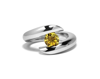 Unique Yellow Sapphire Tension Ring in Stainless Steel