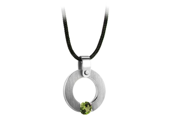 Peridot Tension Set Round Pandant in Stainless Steel