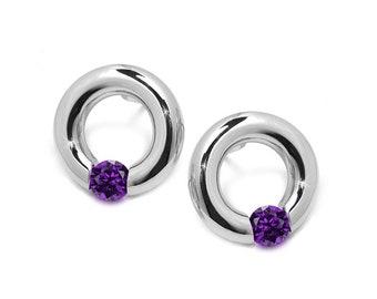 Amethyst Tension Set Circle Stud Earrings in Steel Stainless