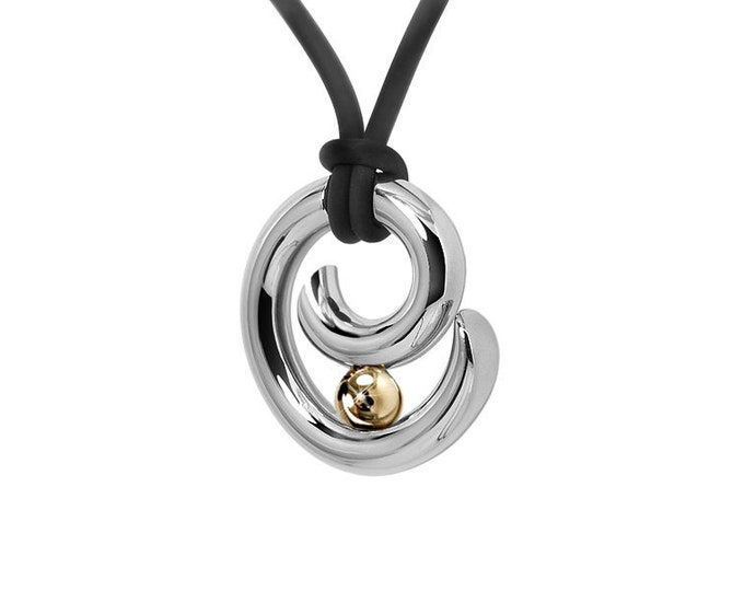 Gold Stainless Steel Tension Set Mens Pendant Two Tone
