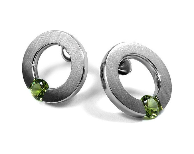 Modern Peridot Tension Set Round Stud Earrings in Stainless Steel