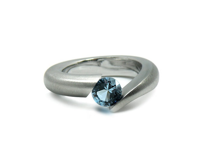 Blue Topaz Ring in Tension Set Stainless Steel