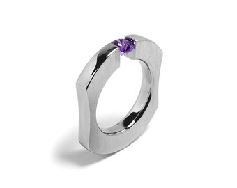 Tension Set Amethyst Mens Ring in Stainless Steel