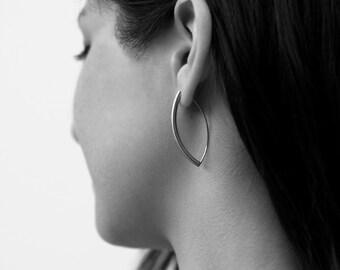 Stainless Steel Oblong Earrings Oval Eye Shaped