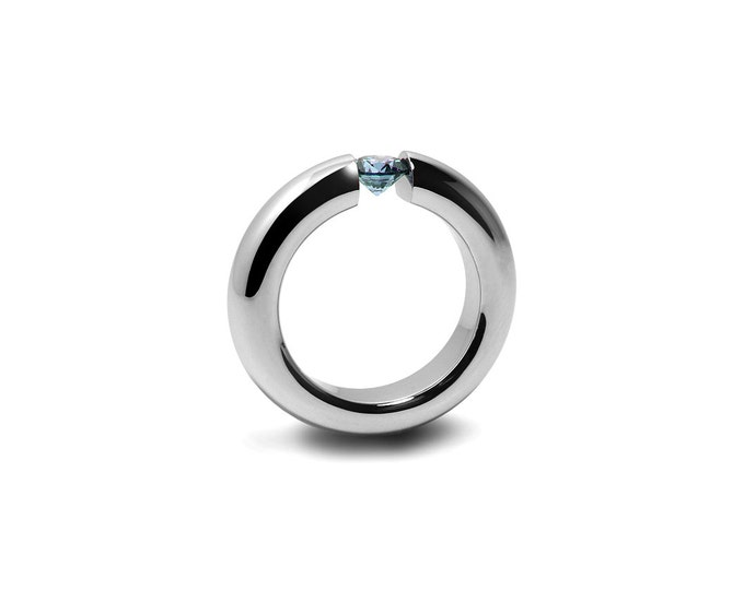 Blue Topaz Tension Set Ring Stainless Steel