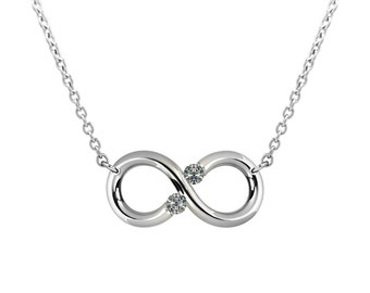 Infinity Necklace with White Sapphire Tension Set Steel Stainless