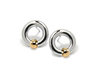 Circle Earrings Two Tone Stainless Steel and Gold Spheres