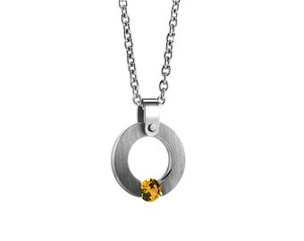 Yellow Topaz Tension Set Round Pandant in Stainless Steel