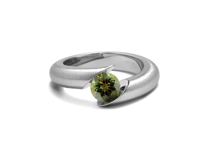 Unique Peridot Tension Set Ring Tapered Mounting in Stainless Steel