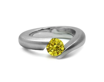 Yellow Topaz Ring Tension Set in Stainless Steel