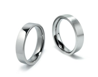 2mm, 3mm, 4mm, 5mm Stainless Steel Flat Comfort fit Wedding Ring Band