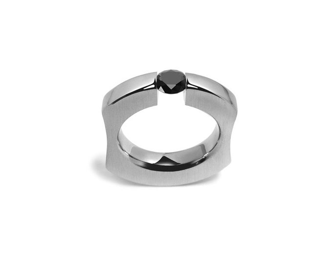 Black Diamond Ring Tension Set in Stainless Steel