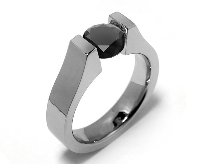 1ct Black Onyx Tension Set Modern Ring Stainless Steel by Taormina Jewelry