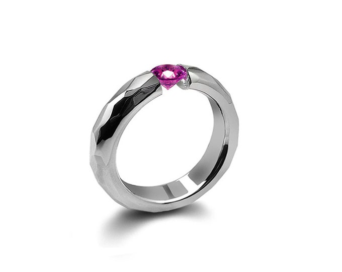 Amethyst Tension Mens Ring Hammered Steel Mounting