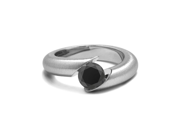 Black Onyx Ring Tension Set Tapered Stainless Steel Mounting
