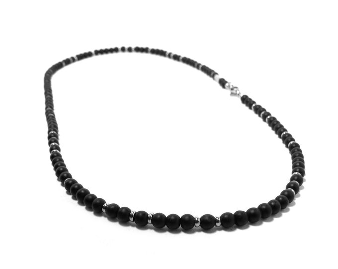 4 mm Obsidian Bead Necklace with Stainless Steel elements