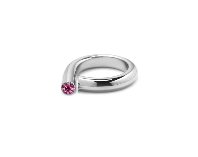Pink Sapphire Pinky Ring in Stainless Steel