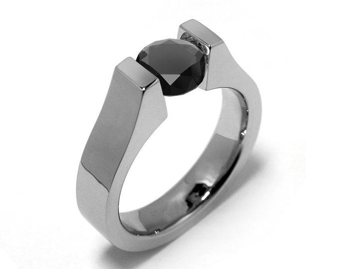 1.5ct Black Onyx Tension Set Modern Ring Stainless Steel