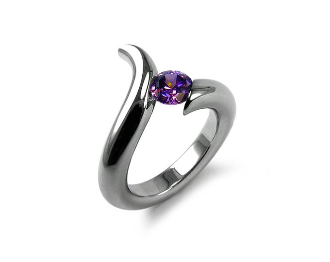 Amethyst Tension Set Modern Ring Stainless Steel
