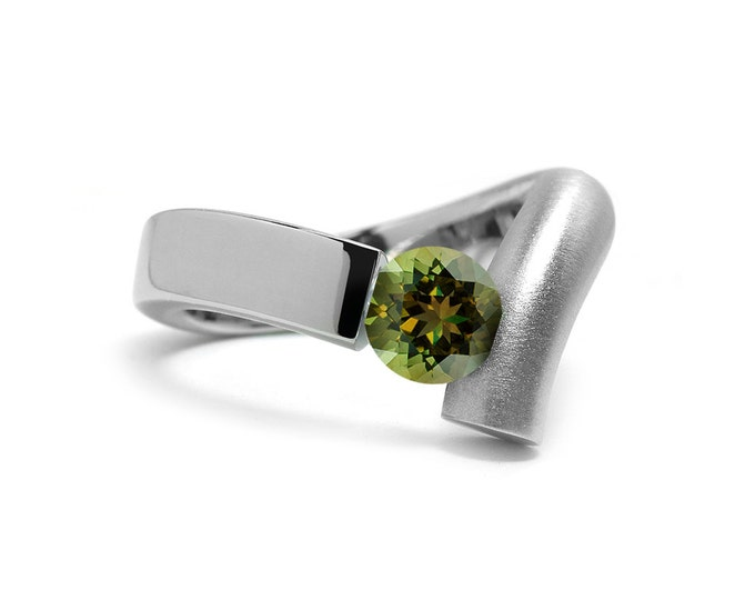 Modern Peridot Tension Set Ring in Two Tone Stainless Steel