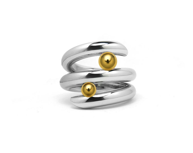 Two Tone Tension Set Bypass Cocktail Ring with Gold and Steel