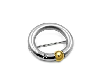 Two Tone Brooch Stainless Steel Tension Set with Gold Accent