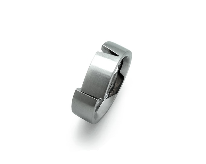 Flat Ring Band with one offset part in Stainless Steel Brushed Ideal for Wedding Ring