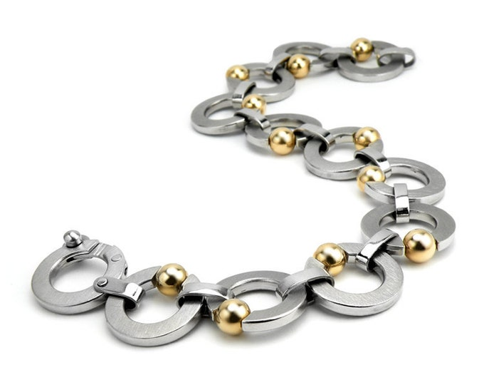 Stainless Steel Link Bracelet Tension Set Gold Spheres by Taormina Jewelry