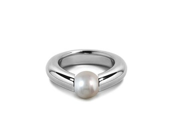 Modern Tension Set White Pearl Engagement Ring in Steel Stainless