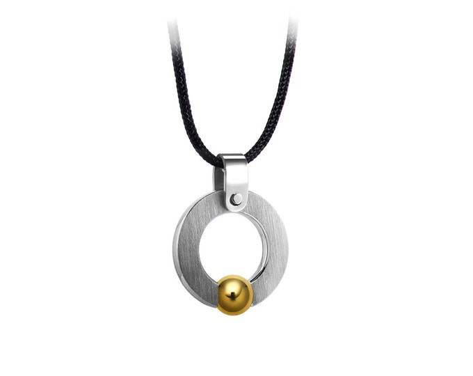 Stainless Steel Tension Gold Sphere Necklace