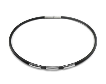 Men's Black Rubber Necklace with 3 Stainless Steel Tubes Elements by Taormina Jewelry