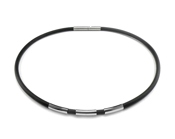 Men's Black Rubber Necklace with 3 Stainless Steel Tubes Elements