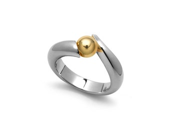 Two Tone Gold and Stainless Steel Tension Set Ring