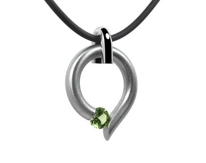 Peridot Tension Set Teardrop Shaped two Tone Pendant in Stainless Steel