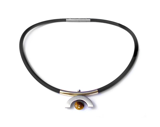 Cool Modern Mens Rubber Necklace with Tiger Eye and Gold