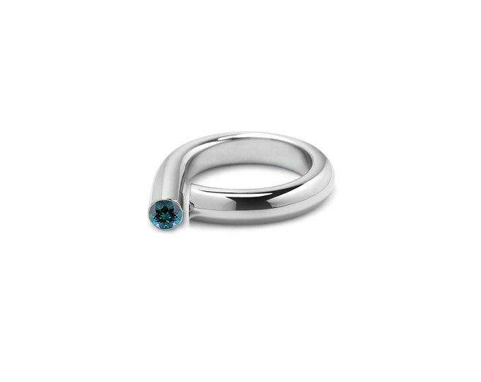 Blue Topaz Pinky Ring in Stainless Steel