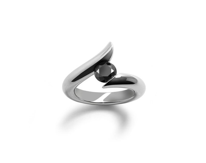 Black Onyx Tension Set Ring in Polished Stainless Steel