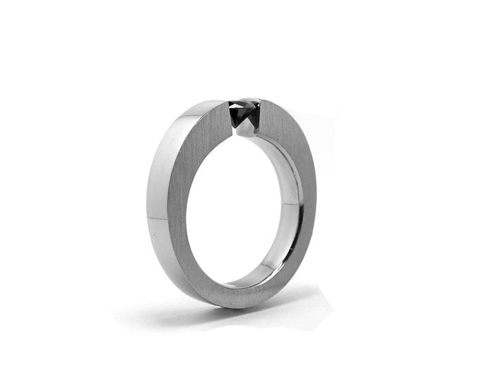 Black Onyx Mens Tension Set Ring in Stainless Steel