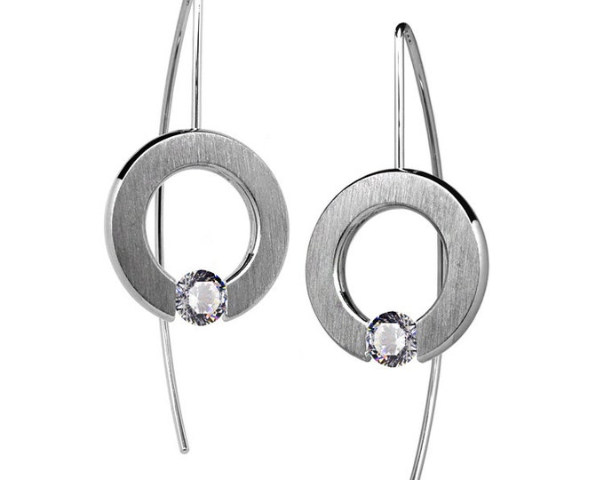 Tension Set White Sapphire Drop Earrings in Stainless Steel by Taormina Jewelry