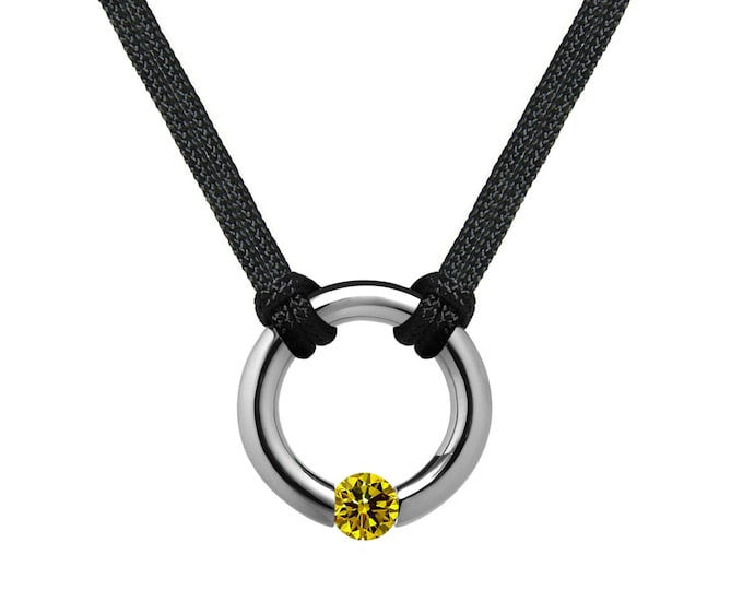 Yellow Sapphire Tension Set Round Men's Necklace in Stainless Steel by Taormina Jewelry