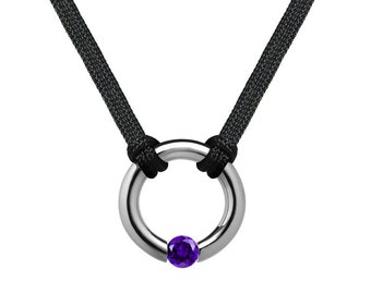 Amethyst Tension Set Round Men's Necklace in Stainless Steel