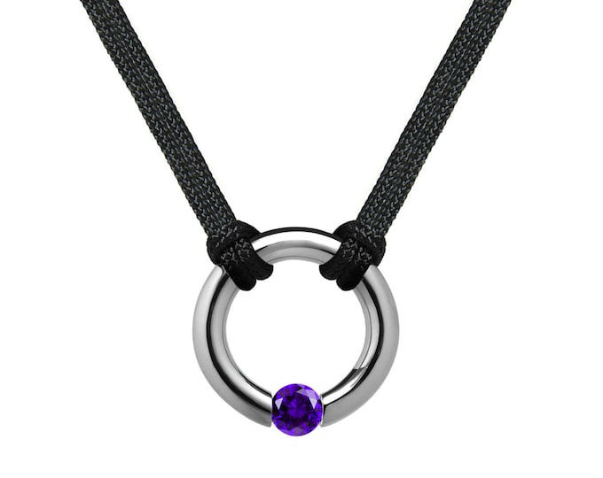 Amethyst Tension Set Round Men's Necklace in Stainless Steel by Taormina Jewelry