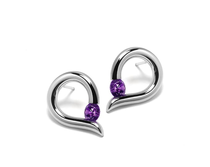 Amethyst Teardrop Shaped Stud Earrings Tension Set in Steel Stainless