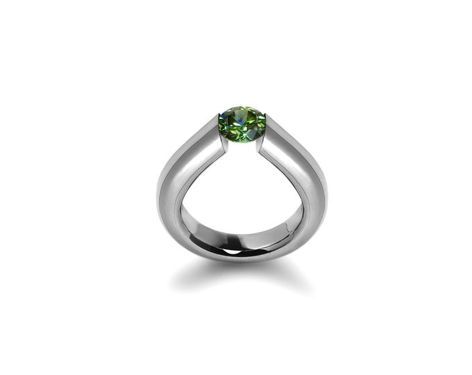 High Tension Setting Peridot Ring in Stainless Steel