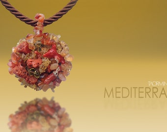 Coral, Carnelian, Amber and Yellow Topaz Necklace with Silk Rope