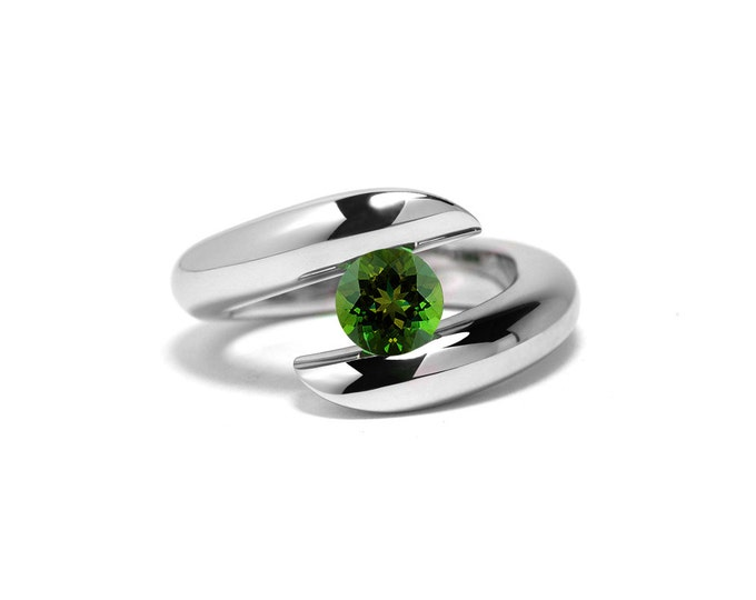 Peridot Tension Ring Stainless Steel Two Tone
