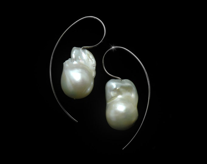 Large White Baroque Pearl Earrings set in Stainless Steel