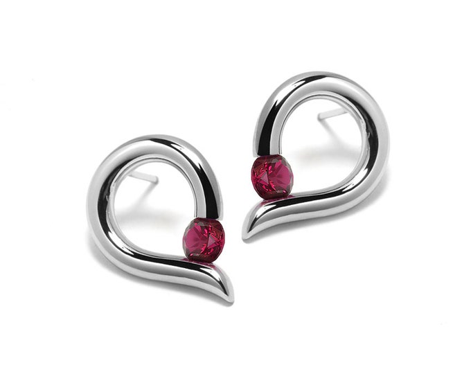 Garnet Teardrop Shaped Stud Earrings Tension Set in Steel Stainless