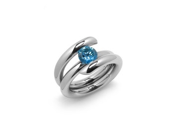 Blue Topaz High Tension Ring Two Tone Stainless Steel