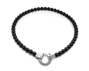 Obsidian Beads Necklace Modern Design